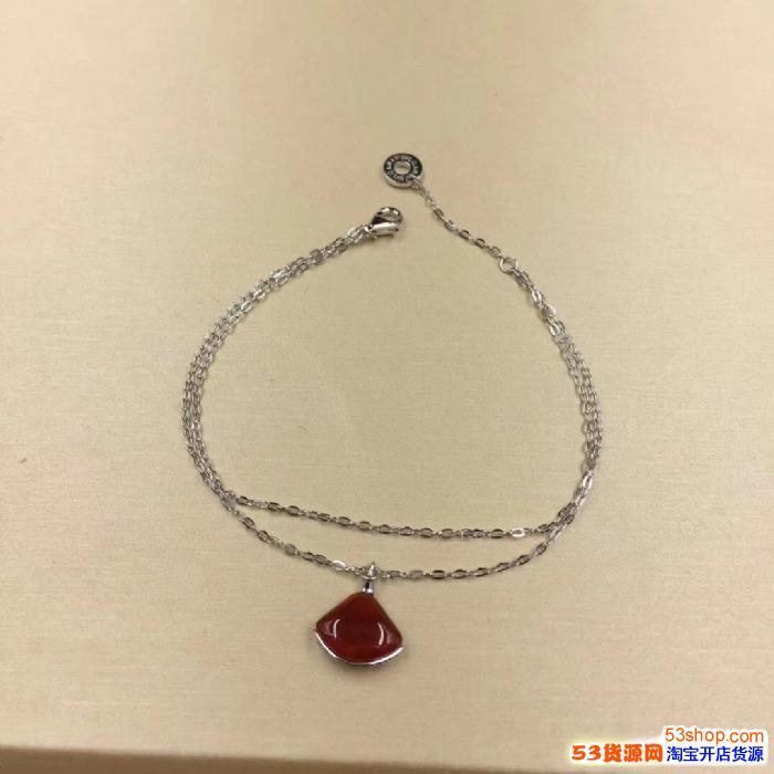宝格丽扇形项链手链批发商白贝母/红玉髓小裙子