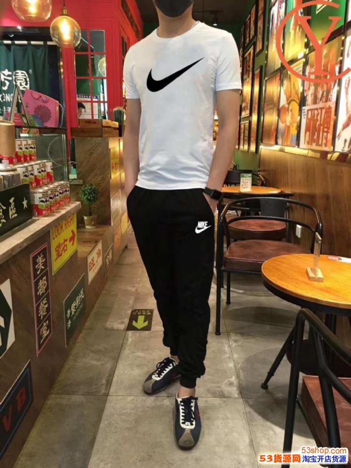 耐克nike短袖长裤运动套装纯棉透气圆领8802