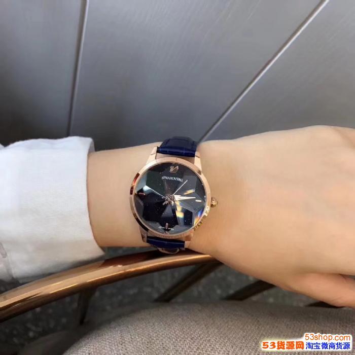 *新款女士石英手表切割菱形镜面玻璃皮带女表