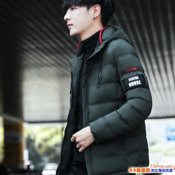 棉衣男冬季青年�n版修身短款潮外套男士�B帽加厚大�a潮流羽�q棉服