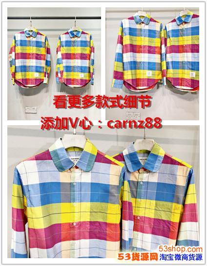 汤姆布朗18AW色织彩虹格纹衬衫TB色织牛津纺衬衣