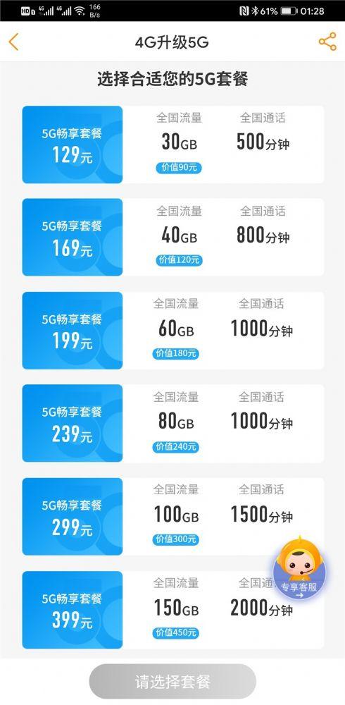 中国电信5G套餐副卡功能资费详情