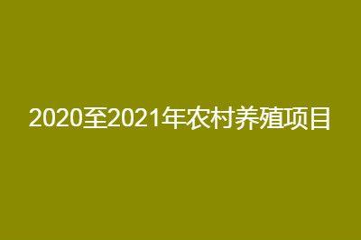 2020至2021年农村养殖比较有前景的项目推荐