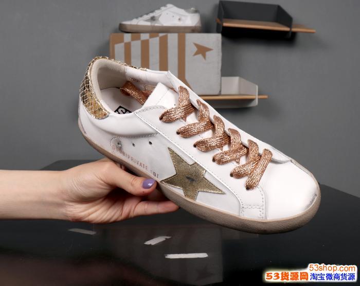 韩版星星做旧小白鞋亮片红尾白粽做旧库存充足工厂批发寻共赢伙伴