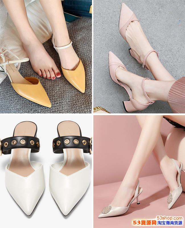 夏季凉鞋批发 尖头坡跟鞋代理 细跟高跟夏女鞋代理