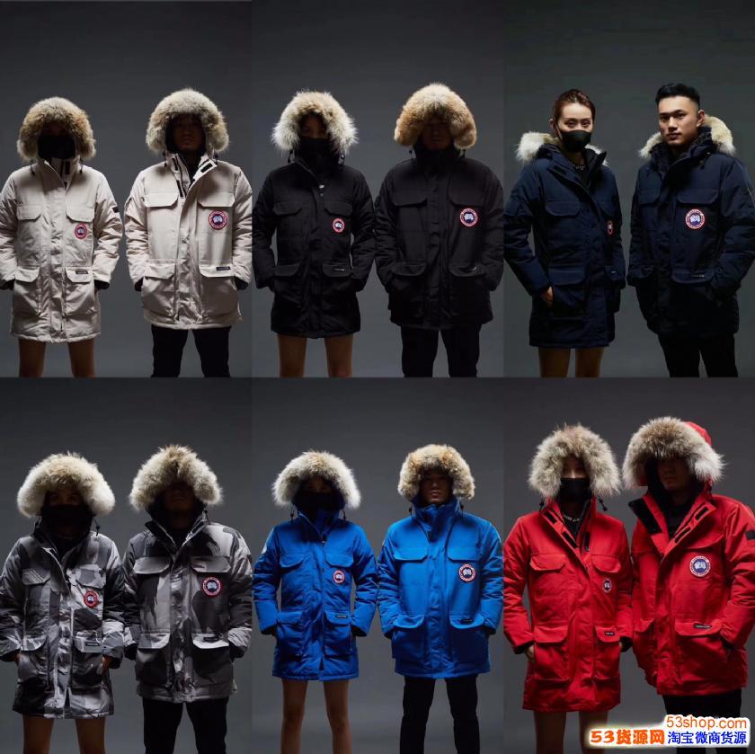 加拿大鹅羽绒服蒙口北面男女款潮服装工厂直销,一手货源,招代理
